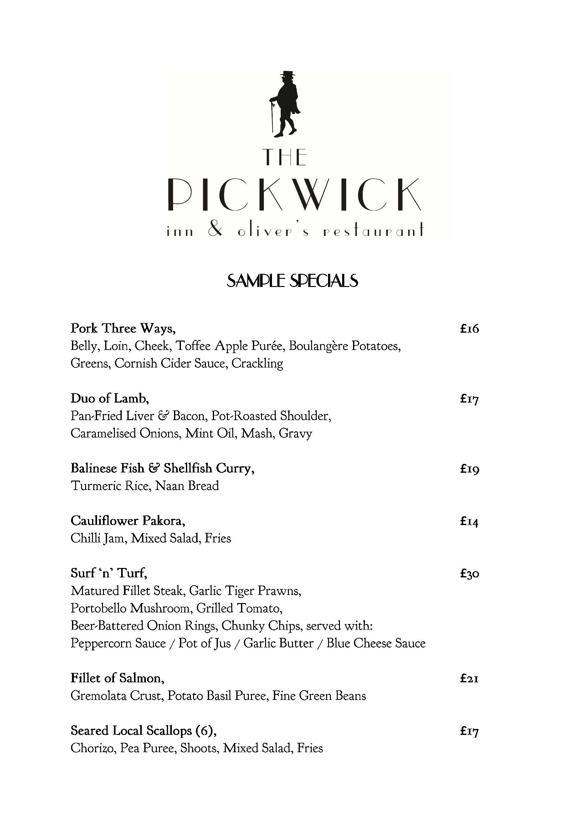 Pickwick Inn Padstow Menu